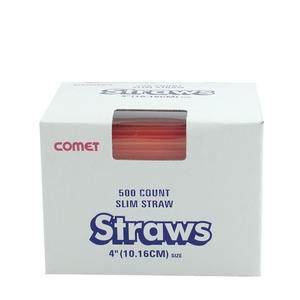 "COCKTAIL STRAW 4"" RED S400R 10/500"